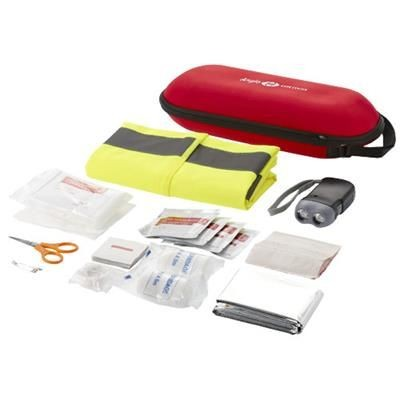 47-PIECE FIRST AID KIT with Safety Vest in Red