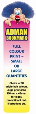 BOOKMARK ADMAN BUG CHARACTER with Full Colour Print