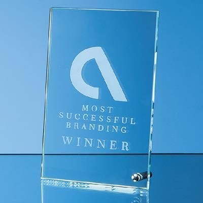 JADE GLASS RECTANGULAR AWARD with Silver Chrome Pin