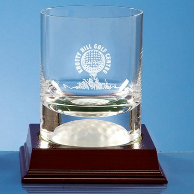 10OZ CRYSTAL GLASS GOLF BALL WHISKY TUMBLER AWARD