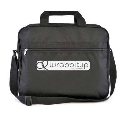 SULLIVAN 600D POLYESTER DOCUMENT BAG in Black with Zip Compartment & Pocket