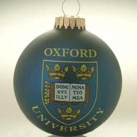 GLASS PROMOTIONAL BAUBLE in Blue with Full Colour Logo