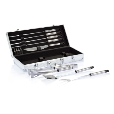 12 PCS SILVER STAINLESS STEEL METAL BARBECUE SET