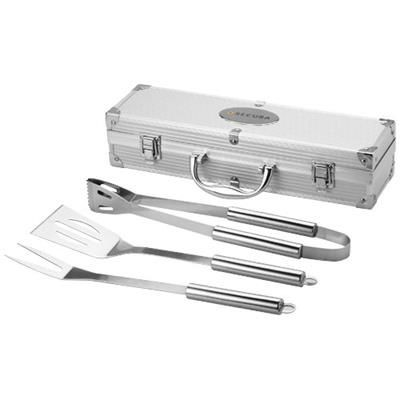 SATAY 3-PIECE BBQ SET in Silver