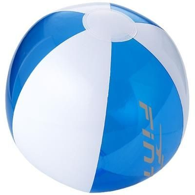BONDI SOLID AND CLEAR TRANSPARENT BEACH BALL in Clear Transparent Blue-white Solid