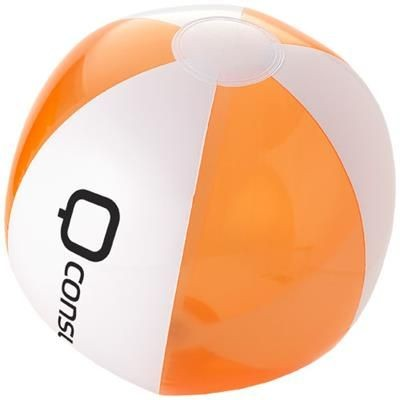 BONDI SOLID-TRANSPARENT BEACH BALL in Clear Transparent Orange-white Solid