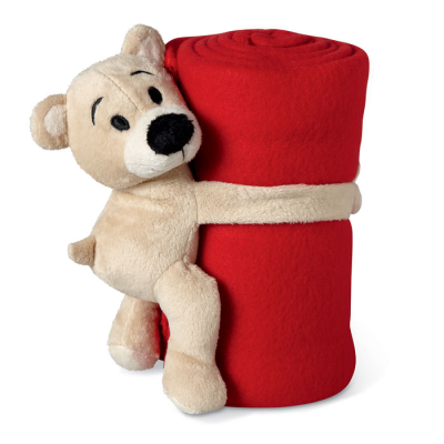 CHILDRENS FLEECE PICNIC BLANKET & SOFT TOY in Red