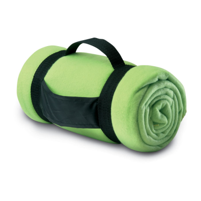 COMFORTABLE FLEECE PICNIC BLANKET in Lime Green