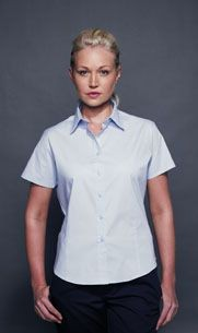 HENBURY LADIES SHORT SLEEVE FITTED BLOUSE