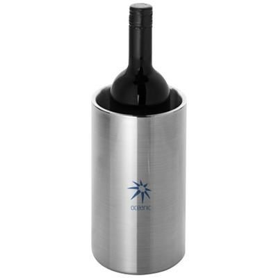 CIELO DOUBLE-WALLED STAINLESS STEEL METAL WINE BOTTLE COOLER in Silver