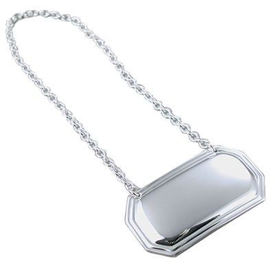 METAL WINE BOTTLE TAG in Silver