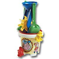 CHILDRENS BEACH BUCKET, SPADE & SAND MOULD SET