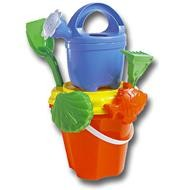CHILDRENS BEACH BUCKET, SPADE, SAND MOULD & WATERING CAN SET