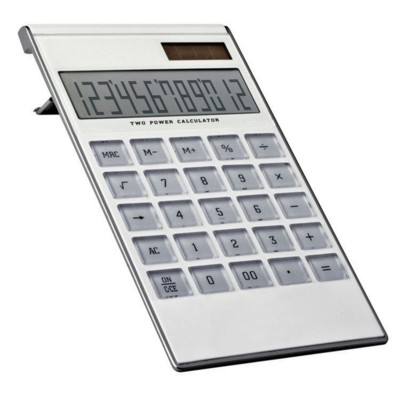 12 DIGIT DUAL POWER CALCULATOR in White