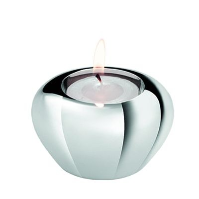 APPLE METAL TEA LIGHT CANDLE HOLDER in Silver