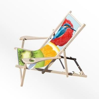 CUSTOM PRINTED DECK CHAIR with Arms & Cup Holders