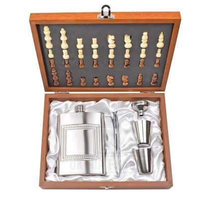 CHESS GIFT SET with Hip Flask