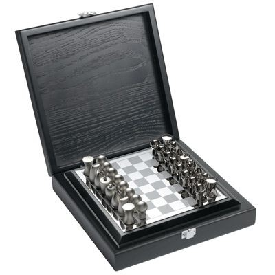 METAL CHESS BOARD in Silver in Wood Box