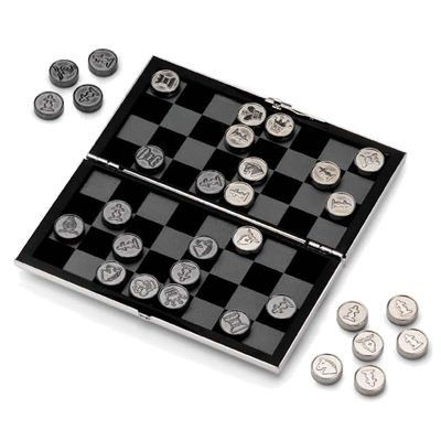 SILVER PLATED METAL TRAVEL CHESS AND DRAUGHTS SET