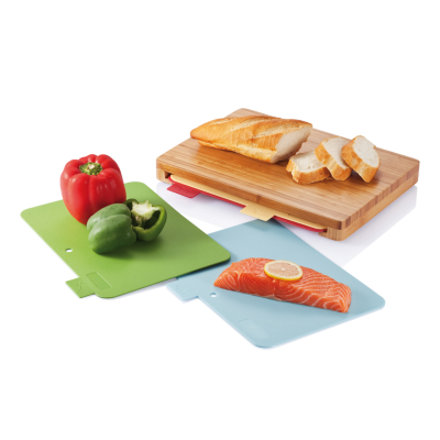 CUTTING BOARD with 4Pcs Hygienic Boards in Brown
