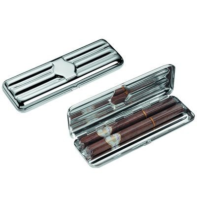 TRIPLE FINE SILVER PLATED METAL CIGAR CASE