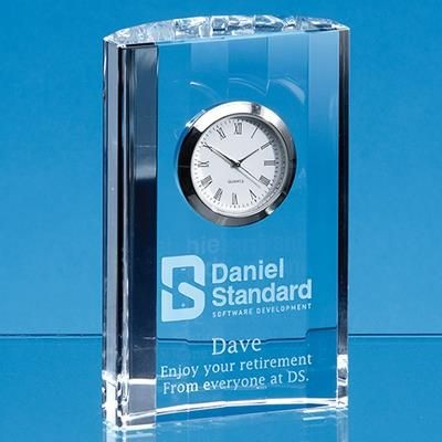 11CM OPTICAL CRYSTAL GLASS SCALLOPED CLOCK