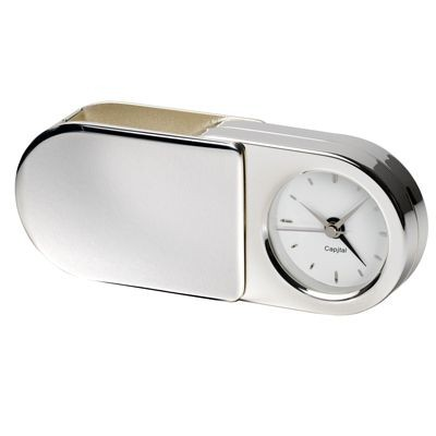 AURELIA METAL FOLDING TRAVEL ALARM CLOCK in Silver