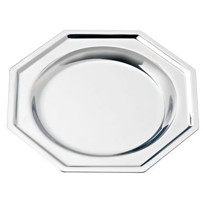 OCTAGONAL SILVER CHROME METAL COASTER
