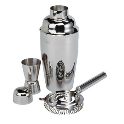 SILVER CHROME EFFECT COCKTAIL SHAKER SET