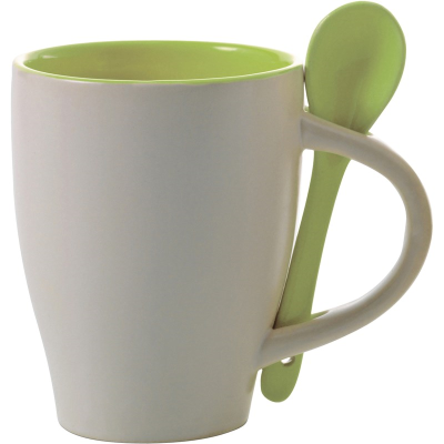 COFFEE MUG & SPOON SET in White & Lime Green Coffee Cup with Integral Spoon in Handle
