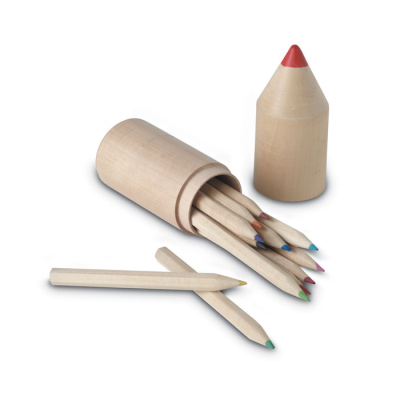 12 WOOD COLOURING PENCIL SET in Tube