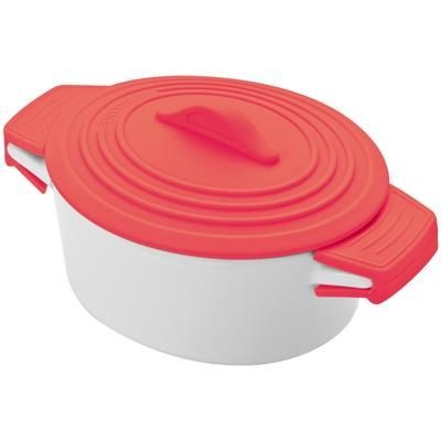 PORCELAIN FOOD POT with Silicon Lid & Heat Protected Handles in Red