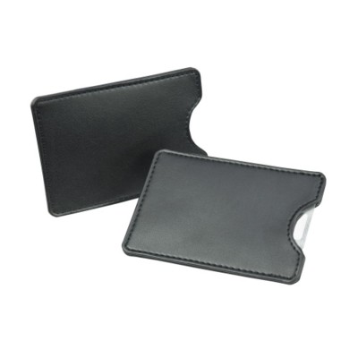 CREDIT CARD SLIP CASE in Black Belluno PU Leather