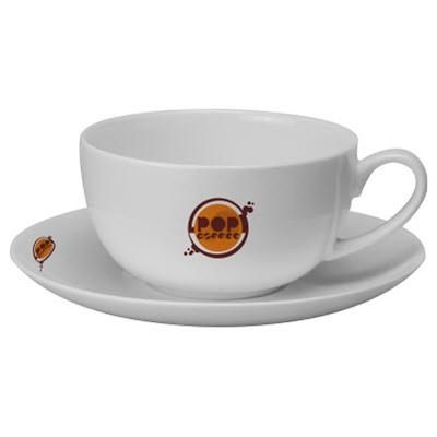 CAPPUCCINO BONE CHINA MUG CUP & SAUCER in White