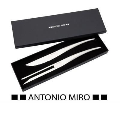 GAMBEL ANTONIO MIRÓ STAINLESS STEEL METAL CONTEMPORARY KNIFE & FORK SET in Presentation Gift Box