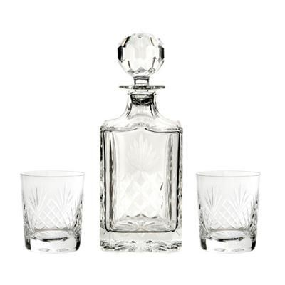 CUT SQUARE CRYSTAL GLASS DECANTER & 2 TUMBLERS