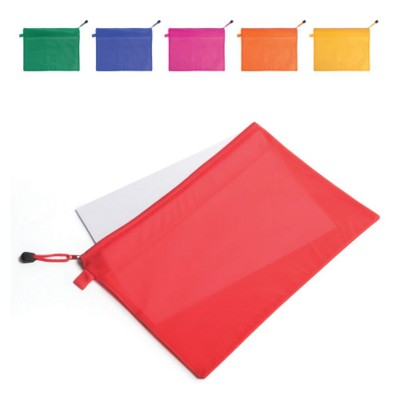 BONX BRIGHT AND COLOURFUL PVC ZIP DOCUMENT CASE with Internal Mesh Divider