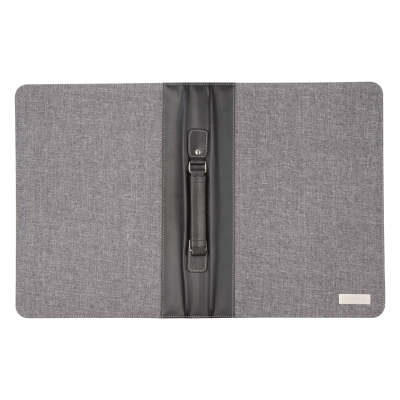 LINEN & PU LEATHER COVERED A4 SIZED ZIP DOCUMENT FOLDER with Handle 20x Sheet Note Pad Solar-power C