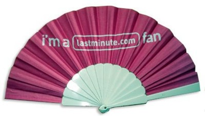 FABRIC CONCERTINA HAND FAN with Plastic Handle