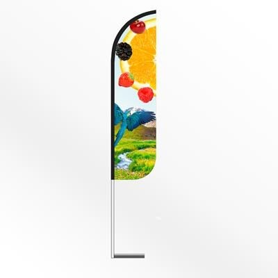 LARGE ROUND FEATHER FLAG BANNER with Car Base