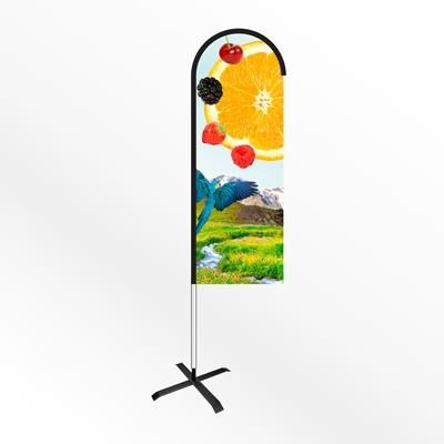 MEDIUM BOW FEATHER FLAG BANNER with Cross Base