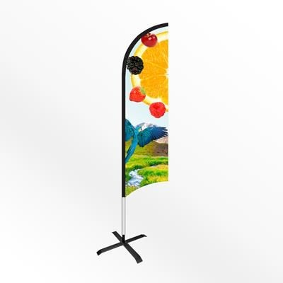 SMALL FEATHER FLAG BANNER with Cross Base