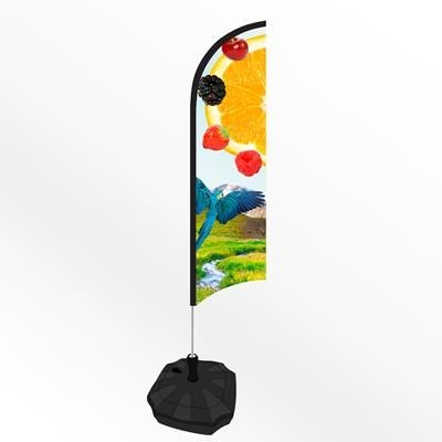 SMALL FEATHER FLAG BANNER with Water or Sand Base