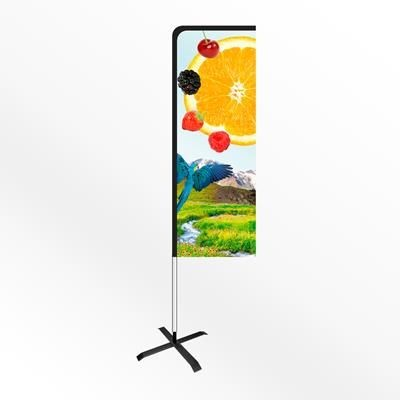 SMALL URBAN RECTANGULAR PORTABLE FLAG BANNER with Cross Base