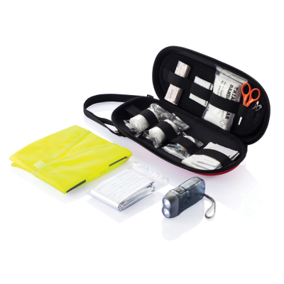 47 PCS FIRST AID CAR KIT in Red & Black