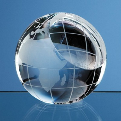 80MM OPTICAL CRYSTAL GLASS GLOBE PAPERWEIGHT