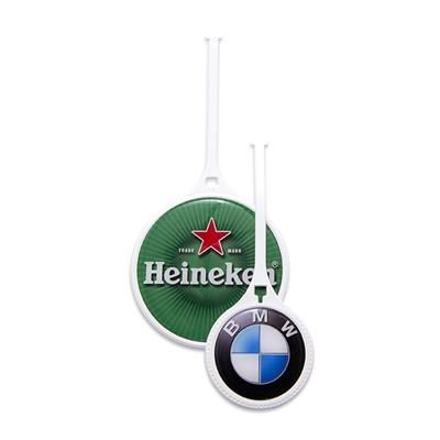 60 MM WHITE PLASTIC FLEXI GOLF BAG TAG