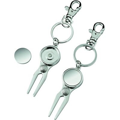 GOLF PITCH MARK REPAIR FORK KEYRING in Silver Metal with Ball Marker