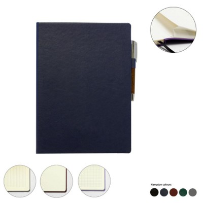 A4 LEATHER CASEBOUND POCKET NOTE BOOK