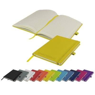 EMBOSSED WATSON A5 BUDGET LINED SOFT TOUCH PU NOTE BOOK 180 PAGES in Yellow